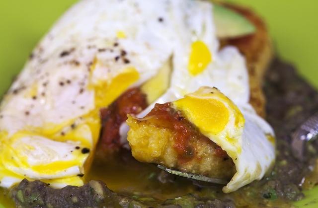 Black Bean Cakes With Fried Eggs And Avocado Crema Recipe ...