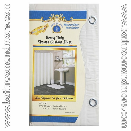 White Vinyl Shower Curtain Liner with Metal Grommets & Magnets