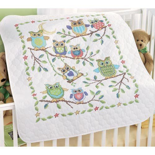Baby Owls Baby Quilt Stamped Cross-Stitch Kit by Herrschners, Inc., http://www.amazon.com/dp/B008C72WGS/ref=cm_sw_r_pi_dp_SWqpsb1A0VV1P