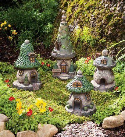 Amazon.com: Set Of 4 Polyresin Outdoor Gnome Homes: Patio, Lawn & Garden