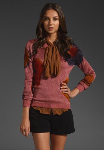 ZAC POSEN Floral Sweater in Pink Multi