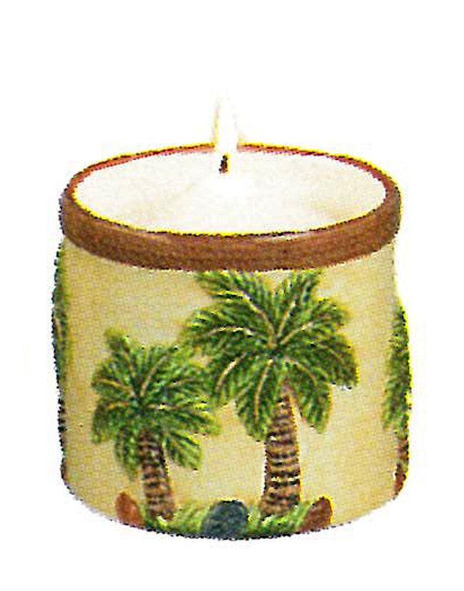 Palm Kitchen Decor Candle Light Holder Palm Tree Ceramic