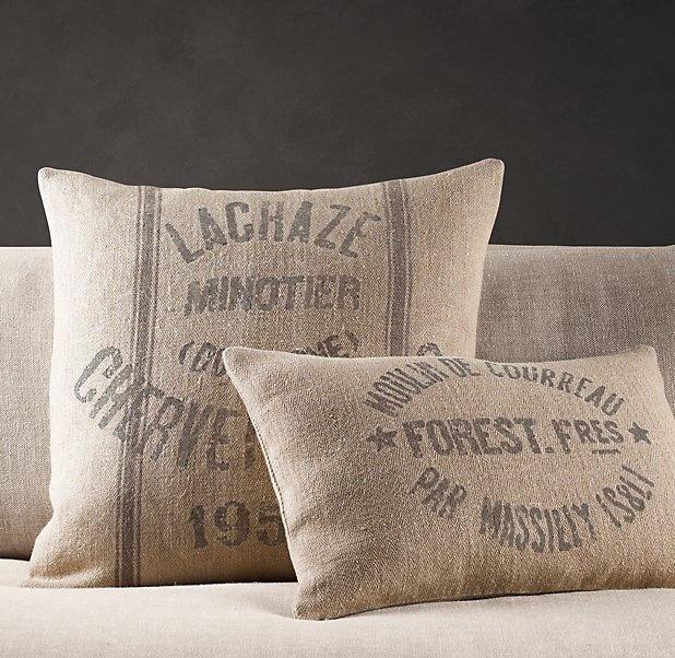 Vintage French Grain-Sack Linen Pillow For the Home Pinterest