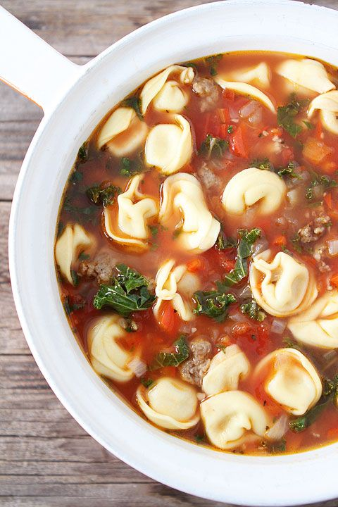 ... soup with Italian sausage, cheese tortellini, red peppers, and kale