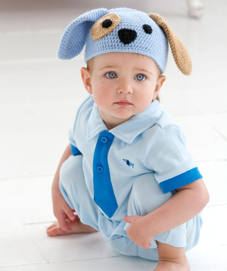 Crochet Pattern For Baby Dungarees : Puppy Dog Hat Free Crochet Pattern from Red Heart Yarns ...
