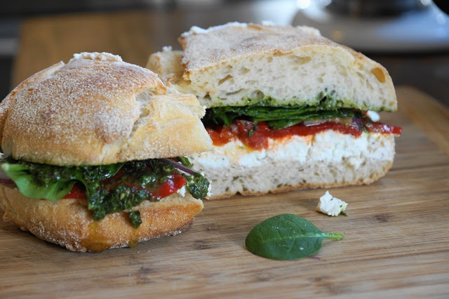 Grilled Goat Cheese And Roasted Red Pepper Pesto Sandwich ...