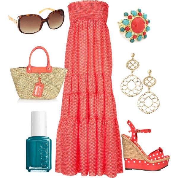 Coral & Polka Dots, created by dina1987 on Polyvore