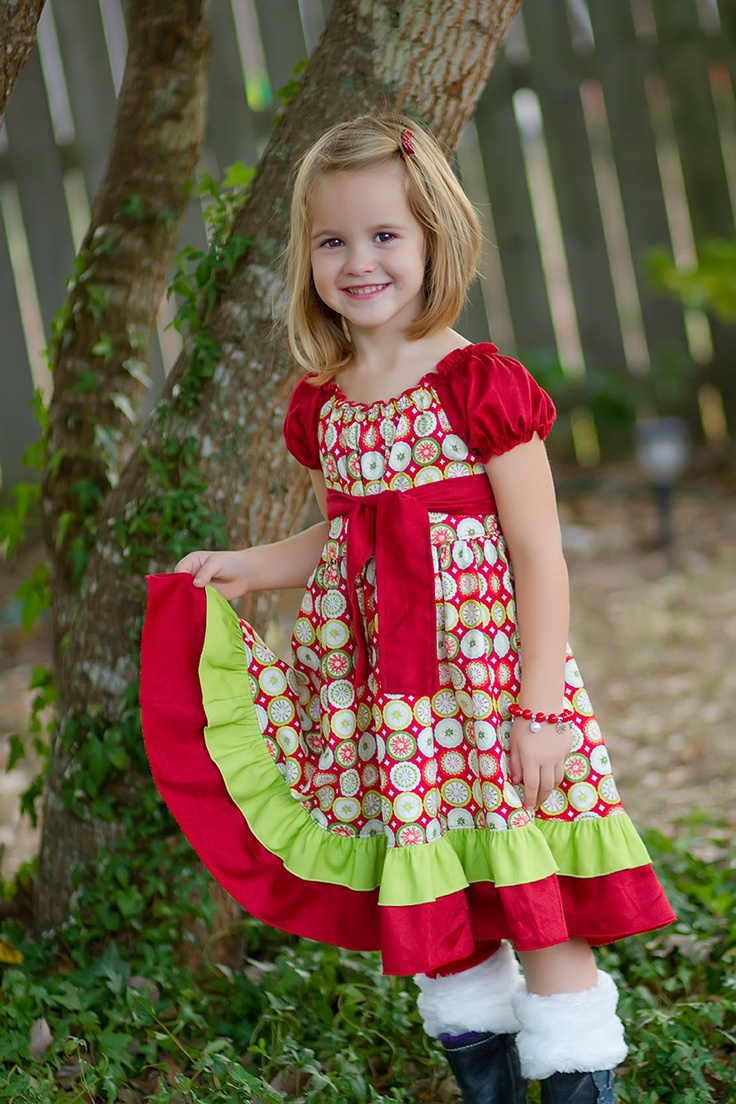 Girls christmas peasant dress size 18mos 2 3 4 5 55 00 via