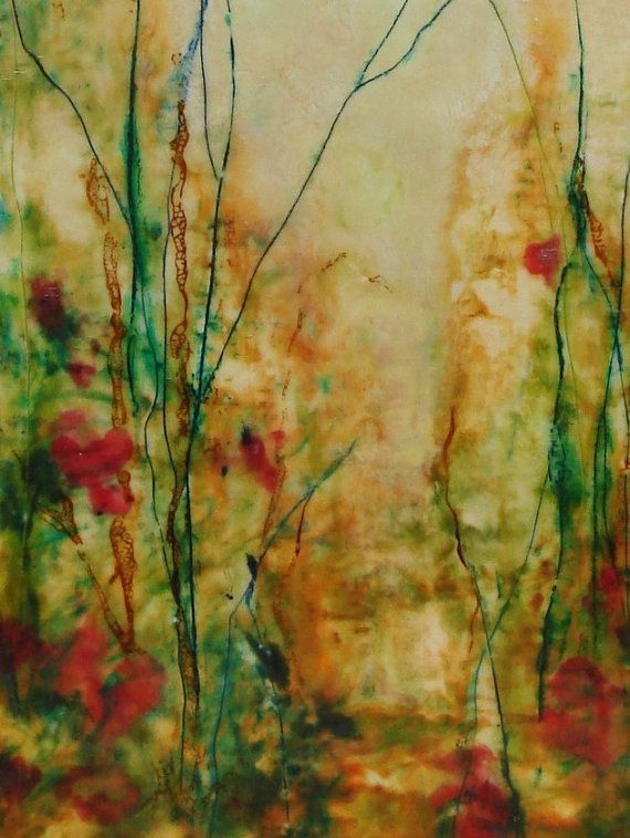Original floral landscape encaustic oil painting for Art sites like etsy