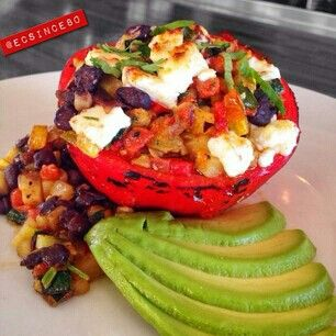 Roasted Red Pepper stuffed with Black Beans, Zucchini, Yellow Squash ...