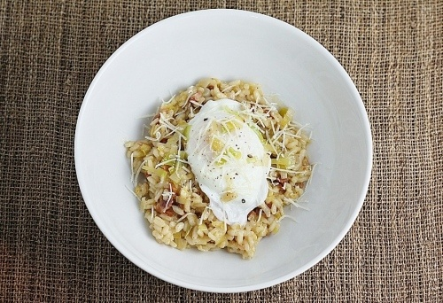 Bacon and leek risotto with poached egg | Recipes to Try | Pinterest
