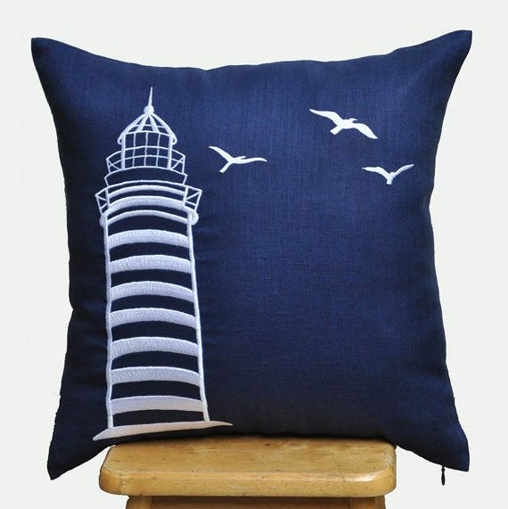 Etsy Navy Throw Pillow : 18x18 Pillow Cover, Navy Blue Pillow with White Lighthouse Embroidery?