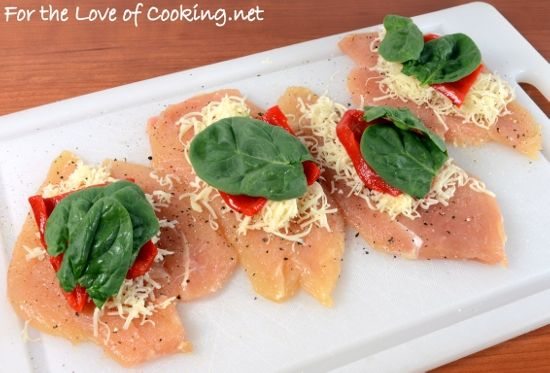 Roasted Pepper, Spinach, and Sharp Cheddar Stuffed Chicken Breast ...
