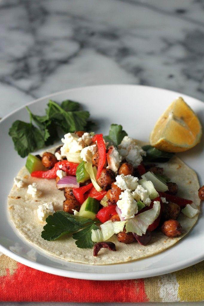 Greek Salad Chickpea Tacos   Food Lovers   Pinterest