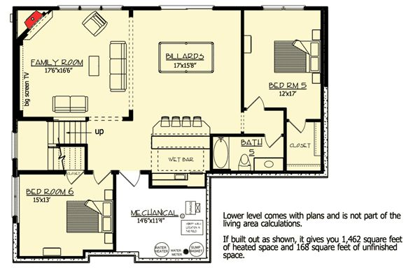 Lower level house plan 73329hs floor plans pinterest Basement in law suite floor plans