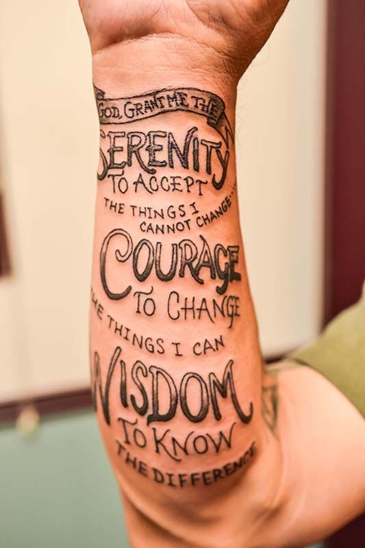 Serenity Prayer arm script from the Illustrator Tattoo in ...