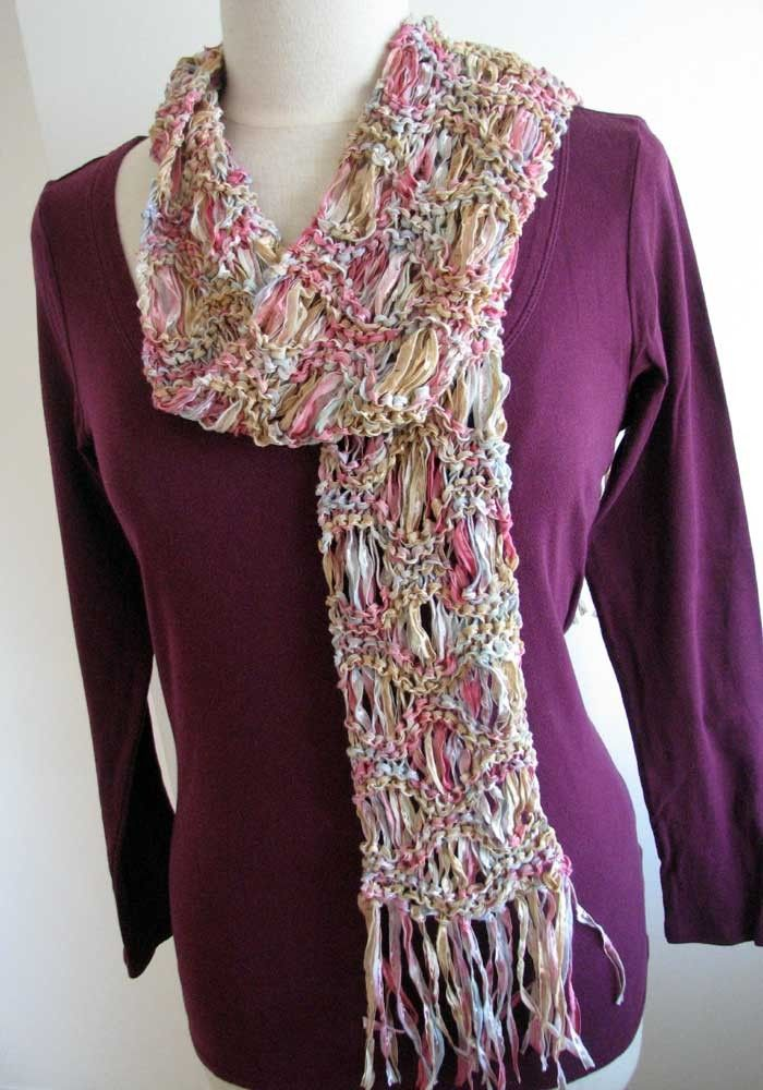 Free Knitting Pattern 40057 Ribbon Scarf : Lion Brand Yarn Company