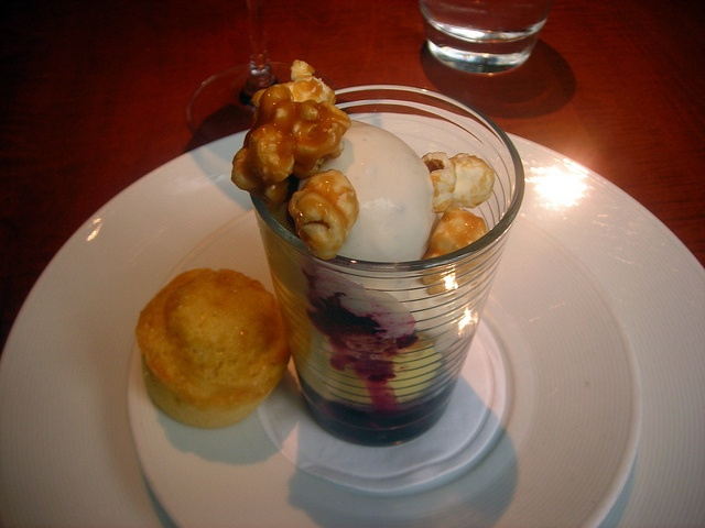 Blueberry corn ice cream sundae, toffee popcorn, sweet corn muffin by ...