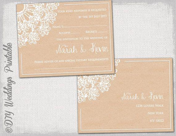 wordtemplate lace wedding response card