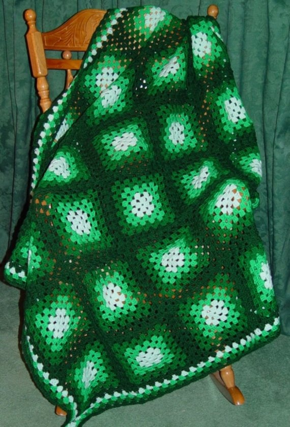 Shades of Green Crocheted Afghan