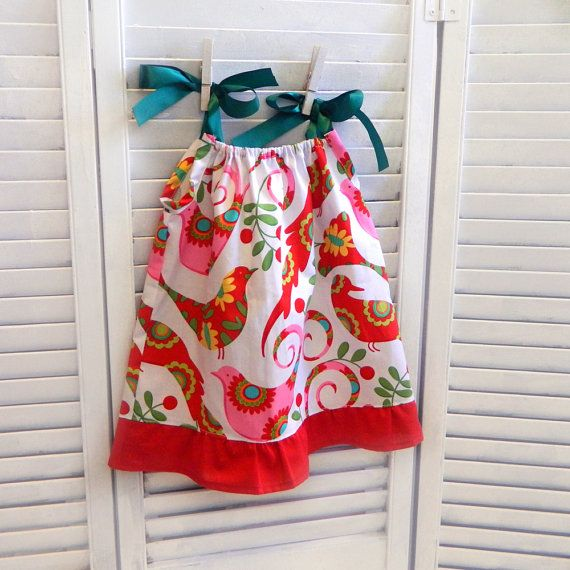 Christmas bird dress size 6 9 months ready to ship red green wh