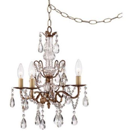 4 Light Crystal 15 Wide Gold Plug In Swag Chandelier