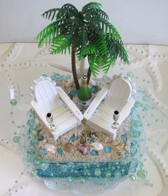 Palm Tree Adirondack Chairs Seahorse Beach Wedding Cake Topper