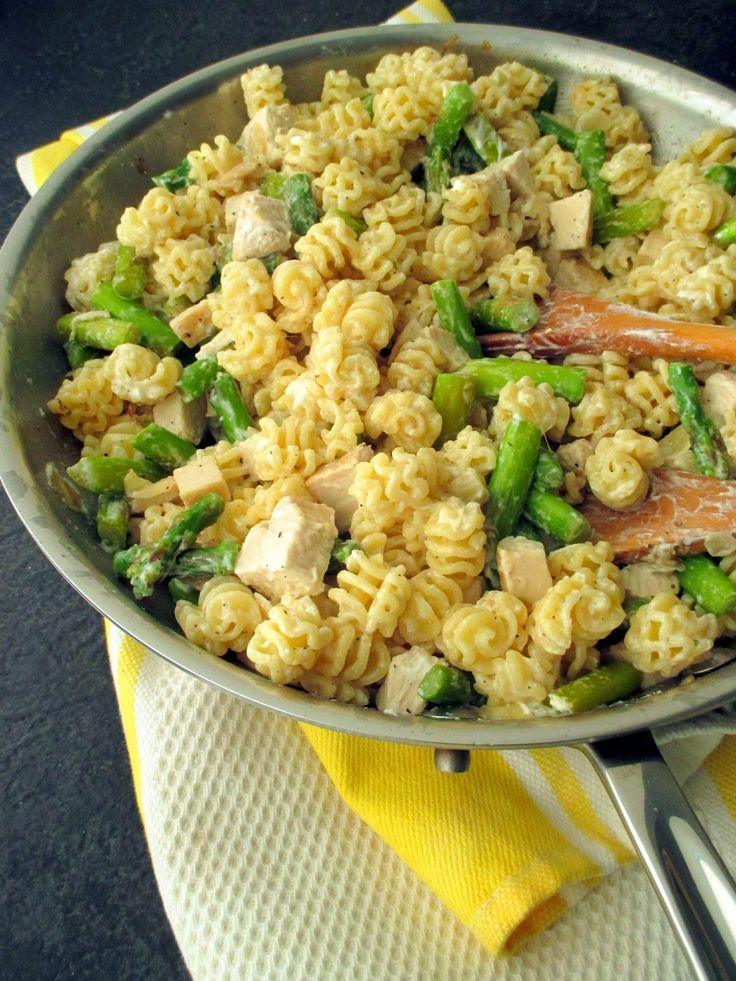 ... , and all things mini: Pasta with asparagus, chicken & goat cheese