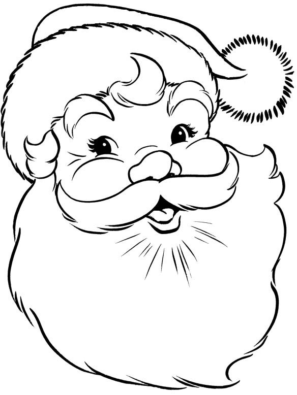 Santa Claus Face Coloring Page   Kids Coloring Pages ...