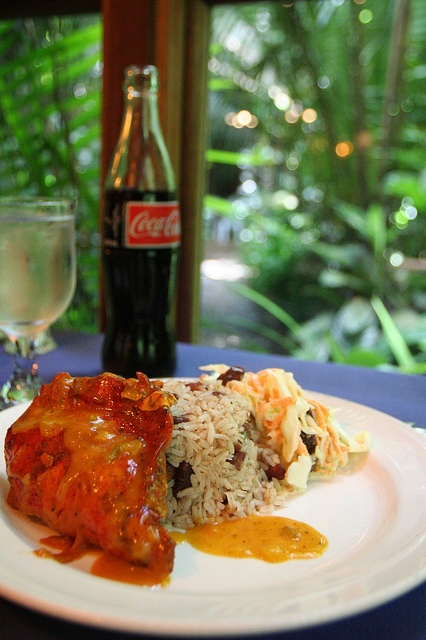 ... Stewed Chicken with Rice & Beans and a Coke by Vista Cove Belize, via