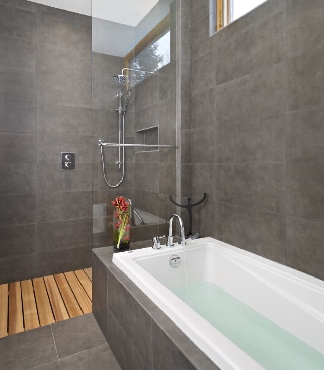Concrete Ish Tiles Wood Floor Egeberg Bath Pinterest