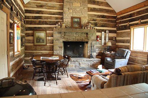 Log Cabin Fireplace Log Cabin Rustic Ideas Pinterest