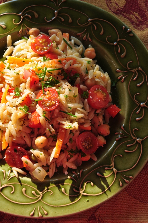 Orzo salad with cherry tomatoes from the garden.