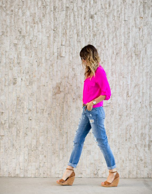 boyfriend jeans, neon pink and wedges via a house in the hills