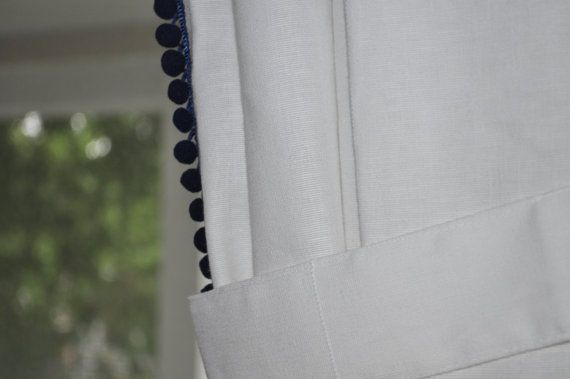 Pom Pom Trim Curtains White Curtain Panels With Pom Pom Trim Detail