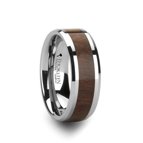 you an Anchorman fan? This rich Black Walnut Wood Inlay Wedding Band ...