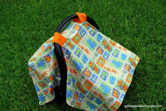 Noah S Ark Infant Car Seat Cover