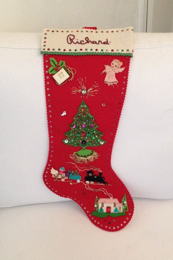 Vintage 1965 Felt Stocking Christmas Handmade