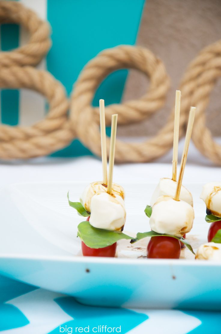 caprese skewers appetizer for a baby shower