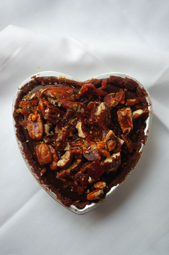 Poires au Chocolat: Sea-Salted Chocolate and Pecan Praline Heart Tarts