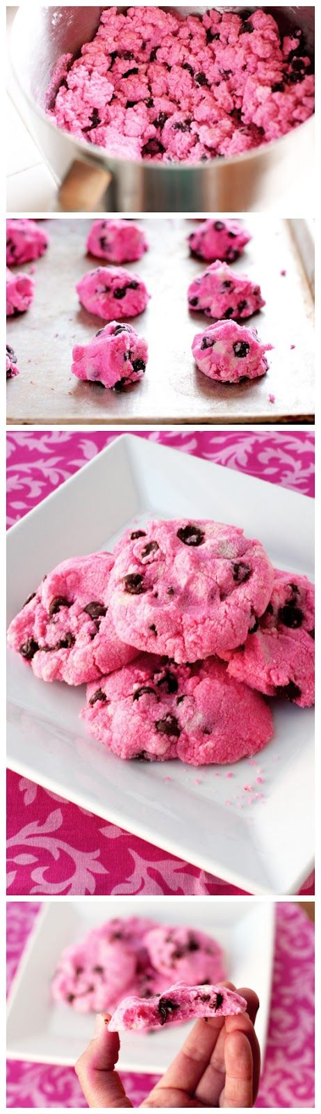 Pink Chocolate Chip Shortbread Cookies | Cookie Anyone? | Pinterest