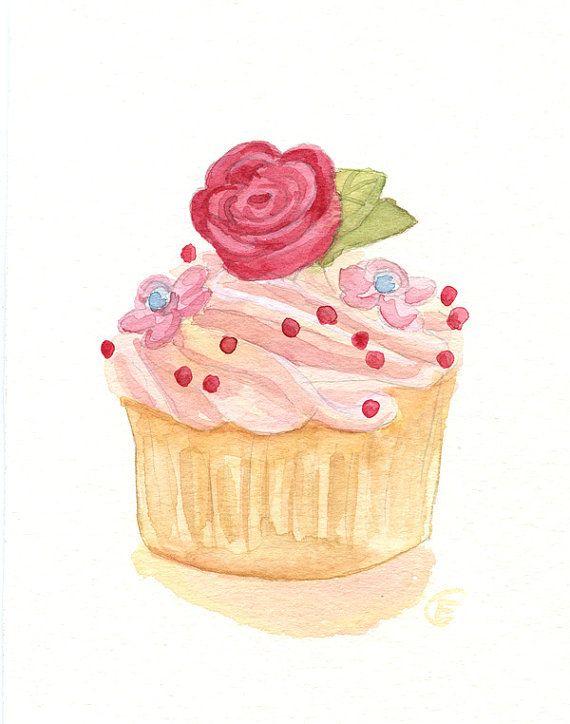 Cupcake 39 - Original Watercolor Painting 8x6 inches