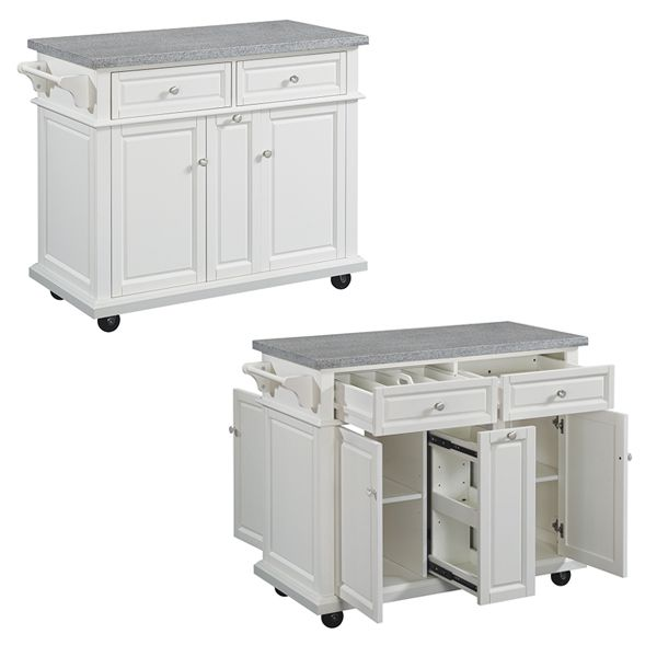 Summerville Kitchen Island, White with Speckled Gray Granite Top