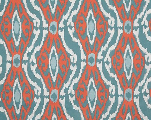 Home Decor FABRIC Ikat Tile Light Blue Coral