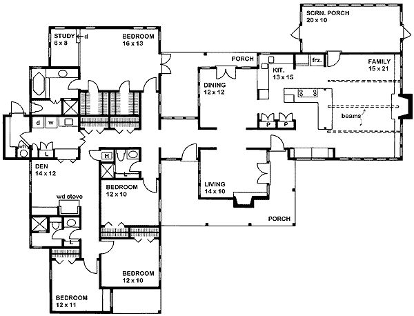 L shaped one story floorplan 2450 sf architecture for Ranch floor plans with mudroom