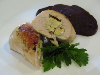 Artichoke and Goat Cheese-Stuffed Chicken Rolls