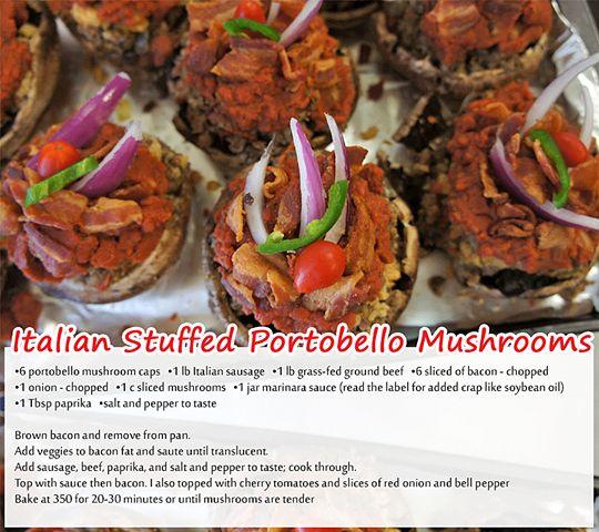 Italian Stuffed Portobello Mushrooms | Eating lite and clean | Pinter ...