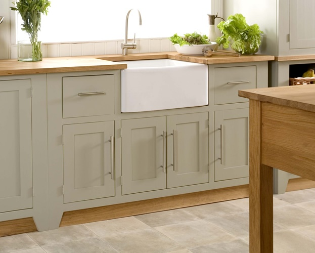 Modern country style colour study farrow and ball french gray for Grey green kitchen cabinets