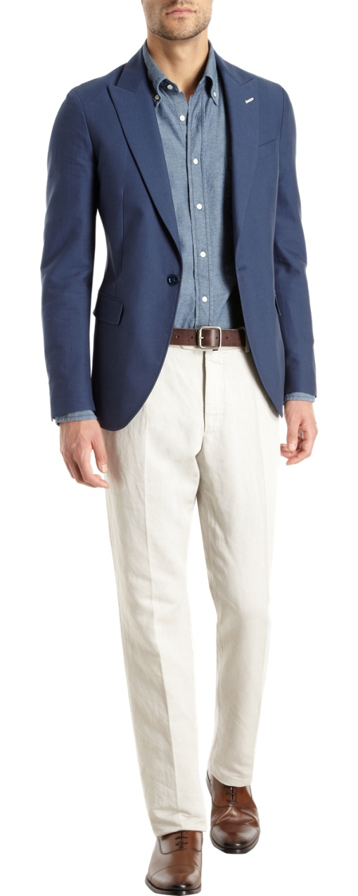 Gant Rugger's Washed Canvas Sport Jacket. Note the peak lapels and single button closure.