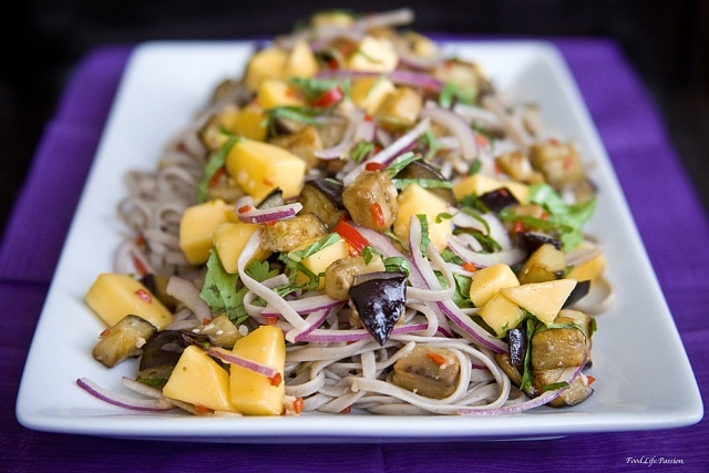 Chilled Soba Noodles with Mango and Eggplant
